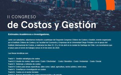 II Congreso del Instituto Chileno de Costos. Nuevas fechas:   9, 10 y 11 de diciembre