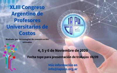 XLIII Congreso Argentino de Profesores Universitarios de Costos (4, 5 y 6 de noviembre)